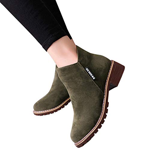 Women Boots - Women Fashion Boots Suede Ankle Boots High Heeled Shoes Short Booties by Lowprofile Army Green