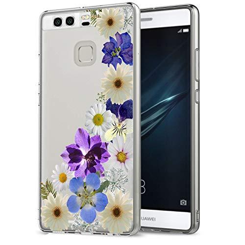 Carcasa transparente para Huawei P9, diseño de flores, antideslizante, resistente a los golpes 6 M