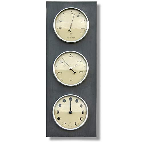 IPPINKA Luna, termómetro y barómetro reloj vertical