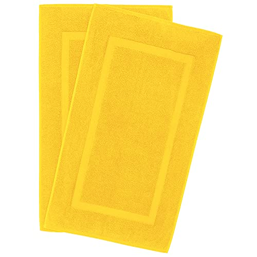 900 GSM Machine Washable 20x34 Inches 2-Pack Banded Bath Mats, Luxury Hotel & Spa Quality, Ringspun Cotton, Maximum Softness & Absorbency by United Home Textile, Lemon Yellow