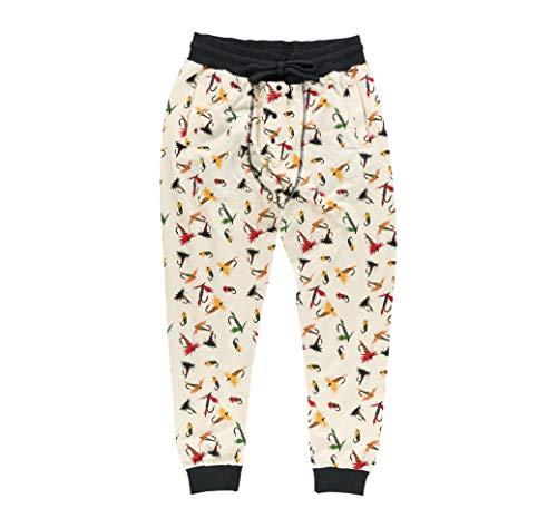 Lazy One Men's Pajama Long John Joggers, Pajamas for Men, Animal, Outdoors (Fly Fishing, Medium)