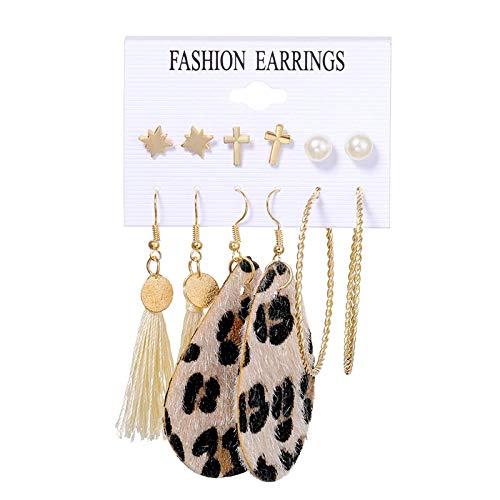 FEARRIN Pendientes Joyas Conjunto de Pendientes Bohemios para Mujer Perla de Moda Borla Pendiente Redondo geométrico Joyería Femenina H8-2425-4