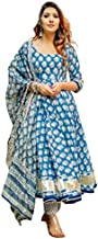 A1 Fashion Women's 100% Cotton Anarkali Floral Print Kurti with Pajama with Dupatta