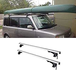VIOJI 2pcs 48in. Adjustable Silver+Black Aluminum Window-Frame-Mount Style Roof Rack Cross Bars + 3 Kinds of Brackets for Multiple Vehicles Without Existing Side Rails
