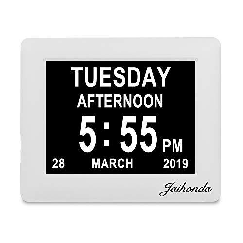 Jaihonda [Última versión] Reloj Digital con Calendario, Pantalla Extragrande con Respaldo de batería y 8 alarmas para Demencia, Alzheimer, pérdida de Memoria, Problemas de visión, Anciano/Anciano