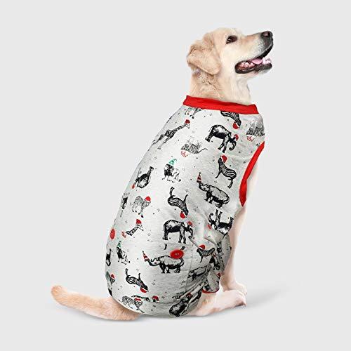 Holiday Safari Animal Print Dog and Cat Matching Pajamas - Medium Gray