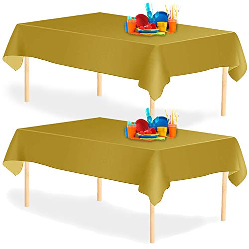 YANGTE Juego de 8 manteles desechables rectangulares de plástico de 137 x 274 cm para mesas de interior o exterior, cumpleaños, bodas, picnic, Navidad, color dorado