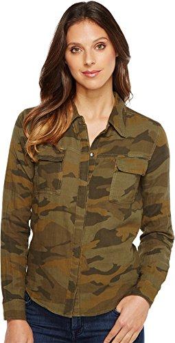Splendid Women's Camo Print Double Cloth Shirt Military Olive Button-up Shirt