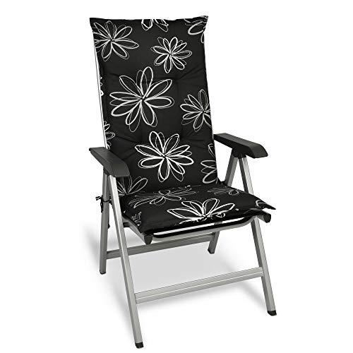 Beautissu Flores Sitzkissen Hochlehner Auflage für Gartenstuhl – Sitzpolster 120x50 cm Polsterauflage UV-Lichtecht – Stuhlauflage schwarz mit Blumen
