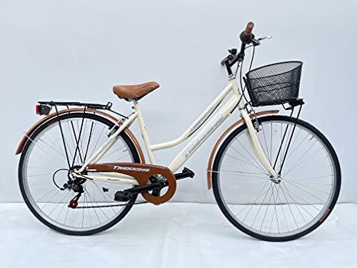 Bicicletta Donna da Passeggio Olanda Misura 26 Bici da città Vintage retrò con Cestino Beige Con Cambio