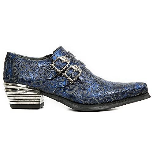 NEW ROCK 7960-S7 Zapatos con Flor Estampada Vintage Zapatos de Tacón de Acero con Hebilla de Cuero Negro y Azul