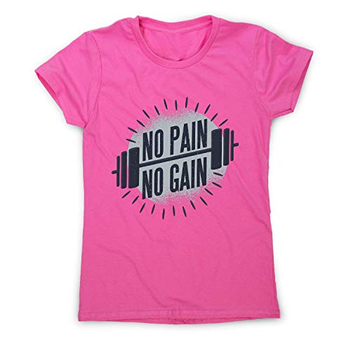 Graphic Gear No Pain no Gain T-Shirt de Sport pour Femme - Rose - S