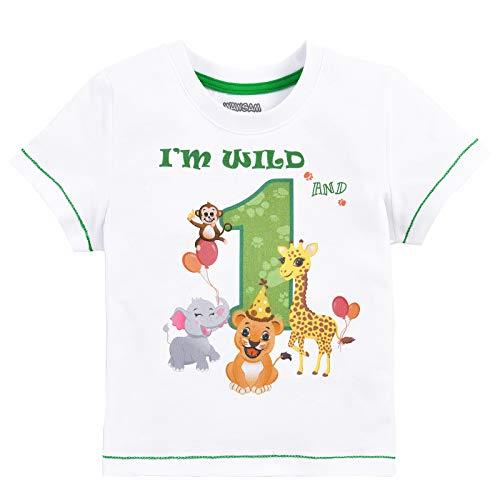 Baby Junge 1. Geburtstag T Shirt - Waldtiere Geburtstag Partyzubehör Kurzarm Ich Bin wild und 1 EIN Jahr Dschungel Geburtstagsfeier 100% Baumwolle gedruckt T-Shirt Geschenk (Weiß, 90)