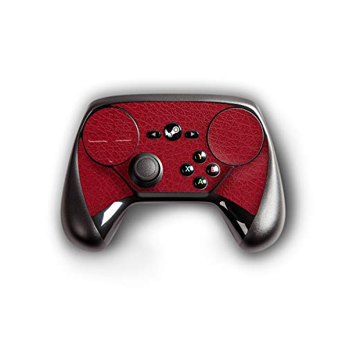 atFoliX Skin kompatibel mit Steam Controller, Designfolie Sticker (FX-Leather-Red), Feine Leder-Struktur