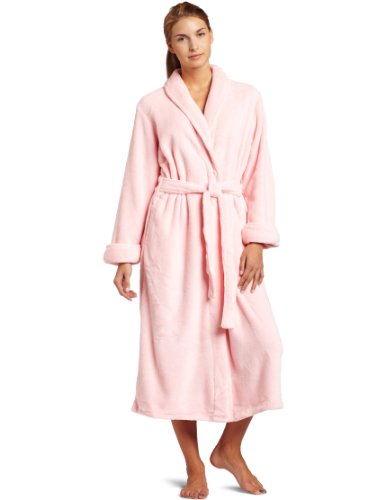 Casual Moments Womens 50 Inch Shawl Collar Set-in Belt Robe, Pink, X-Large