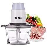 Frifer Tritatutto universale, 200 W, tritatutto elettrico, per cucina, con contenitore in vetro da 2 l, per carne, verdura, cipolle, alimenti per bambini (erba)