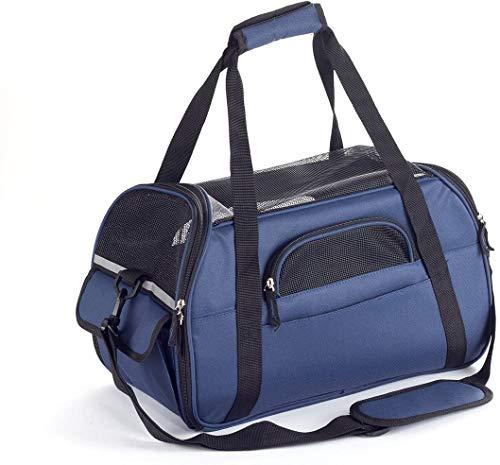 Zedelmaier Faltbare Hundetasche, Hundetragetasche, Katzentragetasche, Transporttasche Transportbox für Hunde und Katzen (L - 48 x 25,5 x 33 cm, Marineblau)