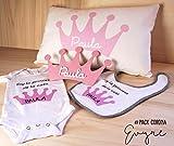 Canastilla bebé personalizada con placa decorativa, funda cojín, body y babero. Regalo original para un recién nacido niño y niña/Pack Corona o Nube