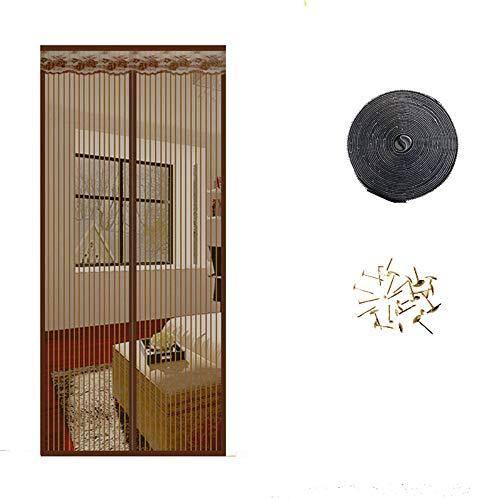 Mentang - Mosquitera magnética antimosquitos para puerta o ventana, mosquitera de verano, antimosquitos, cortinas magnéticas, de hilo suave, para puerta o ventana, de tul, nuevo negro negro Talla:90*210cm