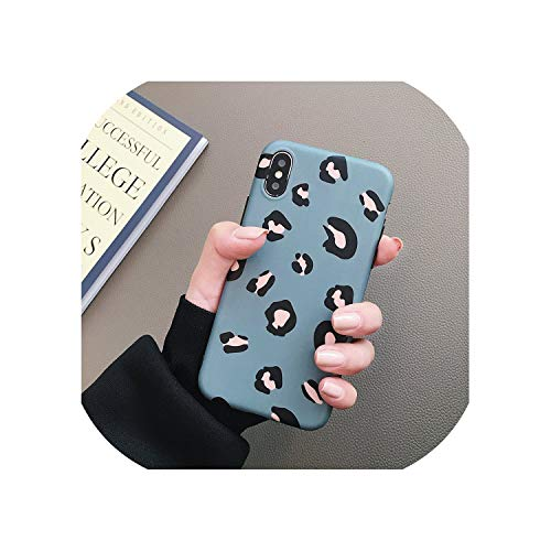 U-See Fashion Colorful Leopard Print Phone Case for iPhone Xs Max Xr 6 6S 7 8 Plus X Luxury Soft Phone Cover Shell Gifts,for iPhone Xr(6.1),Blue