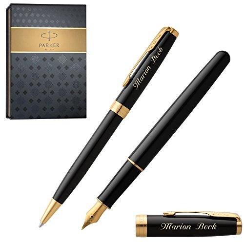 PARKER Schreibset SONNET DEEP BLACK LACQUER G.C. mit Gravur Füller und Kugelschreiber mit Geschenk-Etui