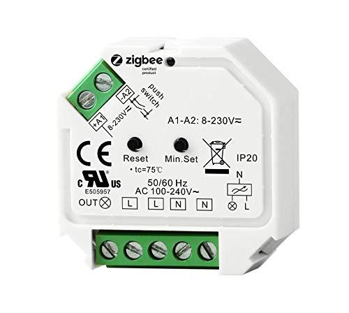 ZigBee 3.0 Unterputz Dimm-Aktor Dimm-Schalter, 1 Kanal für 230V max. 200W LED 400W Halogen mit Taster-Anschluss Phasenabschnitt-Steuerung für dimmbare Lampen, Trafos & Leuchten