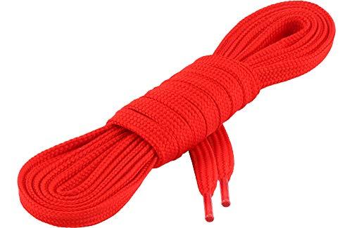 Ladeheid Qualitäts-Schnürsenkel LAKO1001, Flachsenkel für Arbeitsschuhen und Sportschuhen aus 100% Polyester, ca. 7 mm Breit, 18 Farben, 60-200 cm Länge, Rot113, 190cm