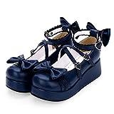 LANKOULI Lolita Zapatos Niñas Zapatos Cabeza Redonda Arco De Encaje Salvaje Muffin Muffin Zapatos Cosplay Lolita 39