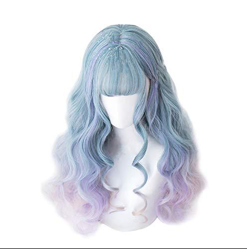 JUZHEN Fantaisie Ciel étoilé Gradient de Couleur Vague colorée Duveteux Lolita Long Rouleau Perruque Femelle Cheveux Longs Ensemble
