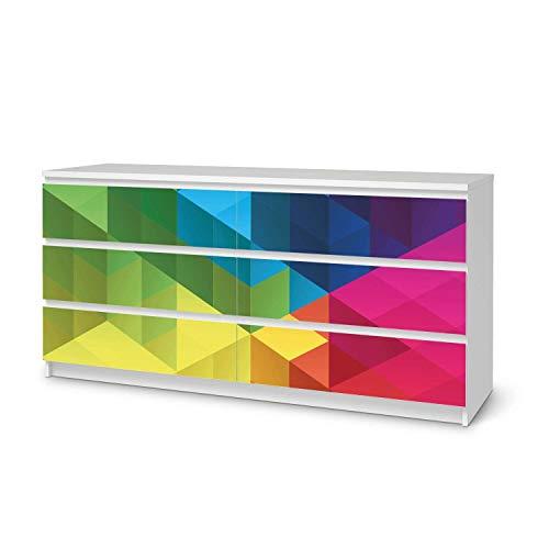 creatisto Möbel-Folie passend für IKEA Malm Kommode 6 Schubladen (breit) I Möbelfolie - Möbel-Tattoo Sticker Aufkleber I Deko Ideen Wohnung für Esszimmer und Wohnzimmer - Design: Colored Cubes