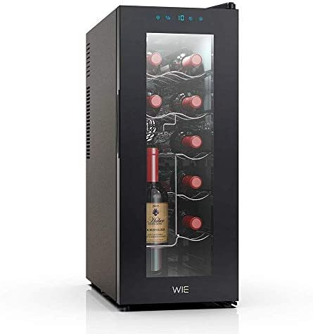 WIE Vinoteca de 12 Botellas con Capidad 38L, 6 Estanterías, Mini Nevera para Vinos y Bedidas, 10°C - 18°C, Botón táctil, Pantalla led, Puerta doble de vidrio ahumado, Negro