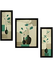 Indianara 3 Pc Set of Floral Paintings Without Glass 5.2 X 12.5