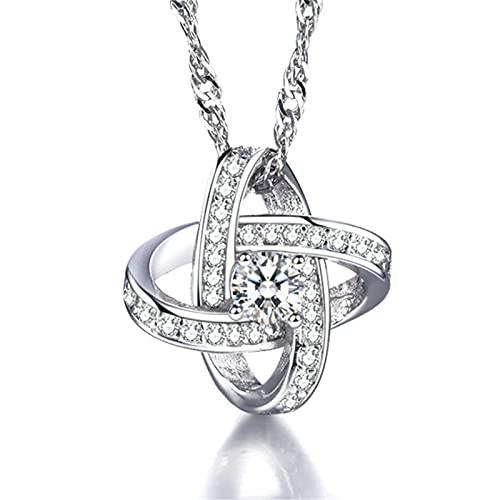Aoten Love Knot - Collar de plata de ley con piedras de circonita cúbica, diseño de corazón
