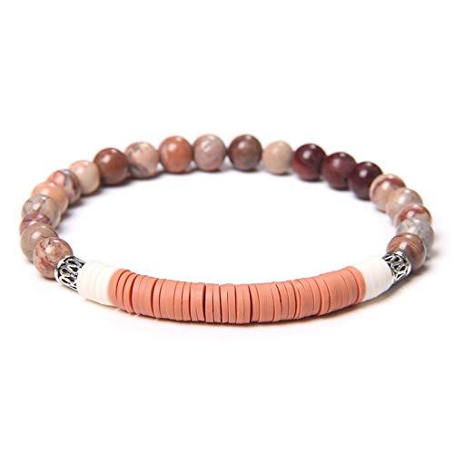 ACEACE Fashion Natural Stone Beads Bracelet Women Men 6mm Flat Polymer Clay Disc Beaded Bracelet Jewelry (Length : 19CM, Metal Color : Type 5)