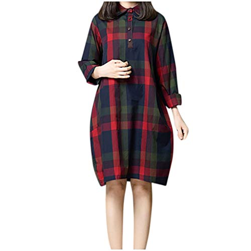 Anglewolf Dames Retro Halve Mouw Casual Jurk Bohemia Plaid Losse Zakjurk Lady Girl's Klassieke Plaid Print Lente Zomer Katoen + Linnen Comfy Jurk voor Dagelijks Feest