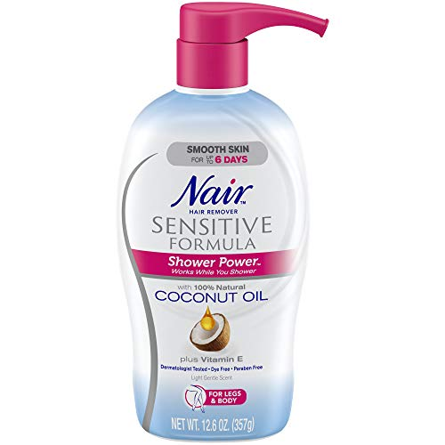 Nair Hair Remover Sensitive Formula Shower Power with Coconut Oil and Vitamin E, Light, Gentle Scent, 12.59 Oz