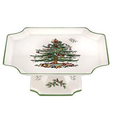 Spode Christmas Tree Footed Square Cake Plate, 10-Inch