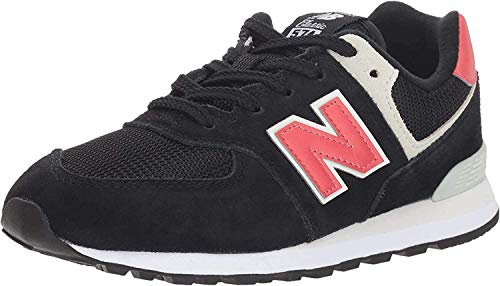 New Balance Boys' 574v1 Sneaker, Black/Pomelo IC, 4 M US Toddler