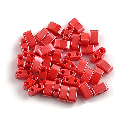 BOSAIYA BL Cuentas de Semillas de Vidrio checo de Doble Agujero Miyuki TILA LOS Personas Spacer Sueltas para la joyería Que Hace un Collar de Pulsera de Bricolaje TL728 (Color : Red Plated 5x2x2mm)