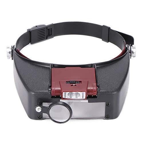 KANJJ-YU 10X Diadema Lupa Gafas Estilo Casco Lupa Lente LED Luces Lupa Microscopio Para Reparación de Reloj Joyería Lectura LED