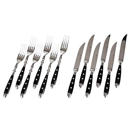 GRÄWE Steakbesteck, 12-teilig, Besteckset für 6 Personen, Steakgabel, Steakmesser, Edelstahl poliert, schwer, spülmaschinengeeignet - Nürnberg