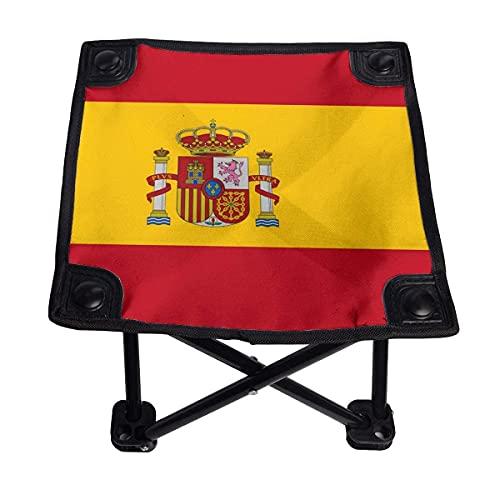 CHISHANG Bandera de España, Silla Plegable pequeña, Taburete Plegable, portátil, Ligero, Banco...