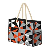 Bolsa de playa grande y bolsa de viaje para mujer – Bolsa de piscina con asas, bolsa de semana y bolsa de noche – Funky Modern Orange Black White Grey Geometric
