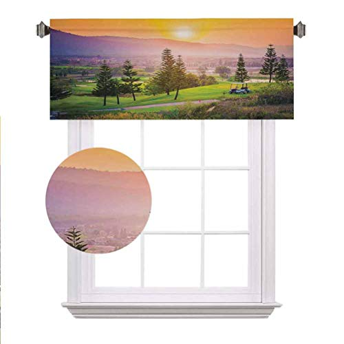 Farm House Decor Window Valance,Vibrant Golf Resort Park in Spring Season with Trees Sunset Hills and Valley Rod Pocket Window Treatment Tier for Boy/Kids/Master Bedroom,42'x12',Multi