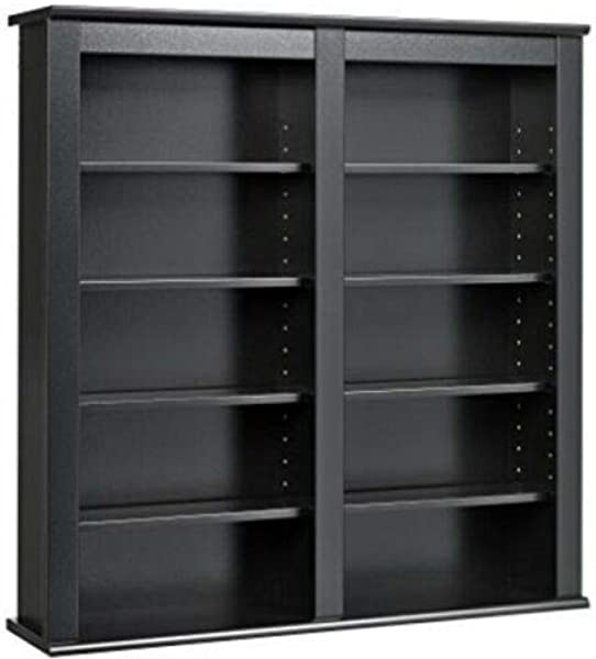 Black Double Wall Mounted Media Storage Cabinet Floating Hanging Media Organizer Adjustable Shelves Ideal For Managing A Medium Collection Of CDs Or DVDs With Style When Floor Space Is Limited