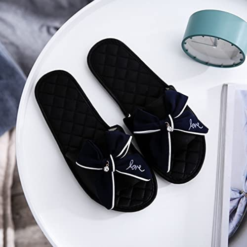 DTTBlue Women Indoor Silk Slippers Butterfly-knot Bowtie Light Comfy Flats Open Toe Home Slides House Causal Fashion Cute Shoes Ladies