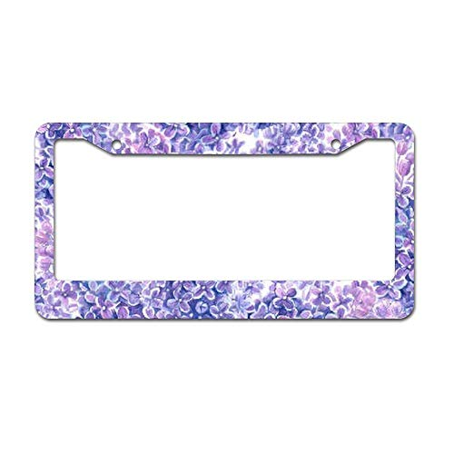 CHANDLEEN License Plate Frame, Violet Watercolor Lilac Flowers Bandanaup License Plate Cover Car Tag Frame Car Accessories