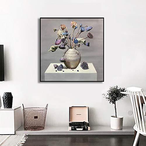 Handgemaltes Ölgemälde, modernes 100% handgemaltes Blumenöl auf Leinwand, zeitgenössisches Lotusblüten-Kunstwerk für Wohnzimmer, Schlafzimmer, Heimdekoration, 120 x 120 cm, rahmenlos