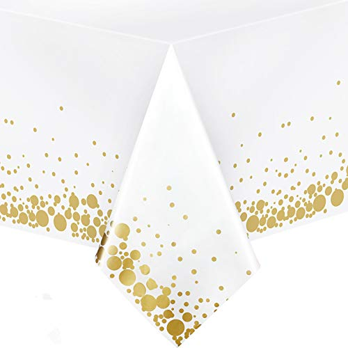 3 Pack Gold Plastic Party Table Cloths Disposable Gold Dot Confetti Rectangle Table Covers 51 x 71 Inch for Birthday Wedding Anniversary Thanksgiving Christmas (White)