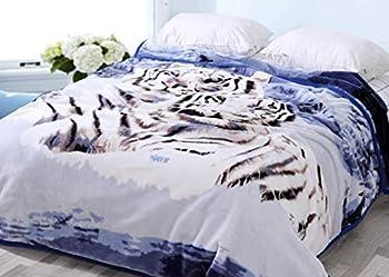 Hiyoko Plush Tiger Blanket Animal Fleece Flannel Microfiber Korean Mexican TV Couch Warm Bedcover Throw Full Queen Double Silky Mink Cozy for Girls Boys Kids Men Women No Shedding Lints-Less 5LBS